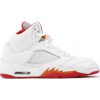 Jordan 5 Retro White Fire Red Sunset Dark Cinder