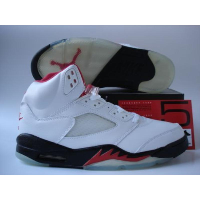 size 40 00451 2ad8c Jordan 5 White Black Fire Red