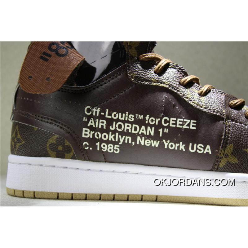 d6ad1788dfb8 Men OFF-WHITE X Air Jordan 1 BROWN GOLD AQ0818-202 2018 Summer New ...