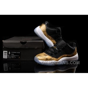 "Shop Air Jordan 11 (XI) Low ""Golden Snake"" Custom Black Gold Kys8G"