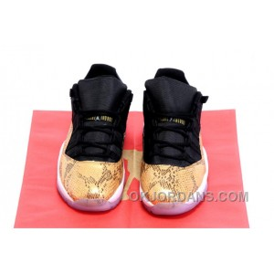 "Air Jordans 11 Low ""Gold Snake"" Gold/Black-White For Sale N6aA8"