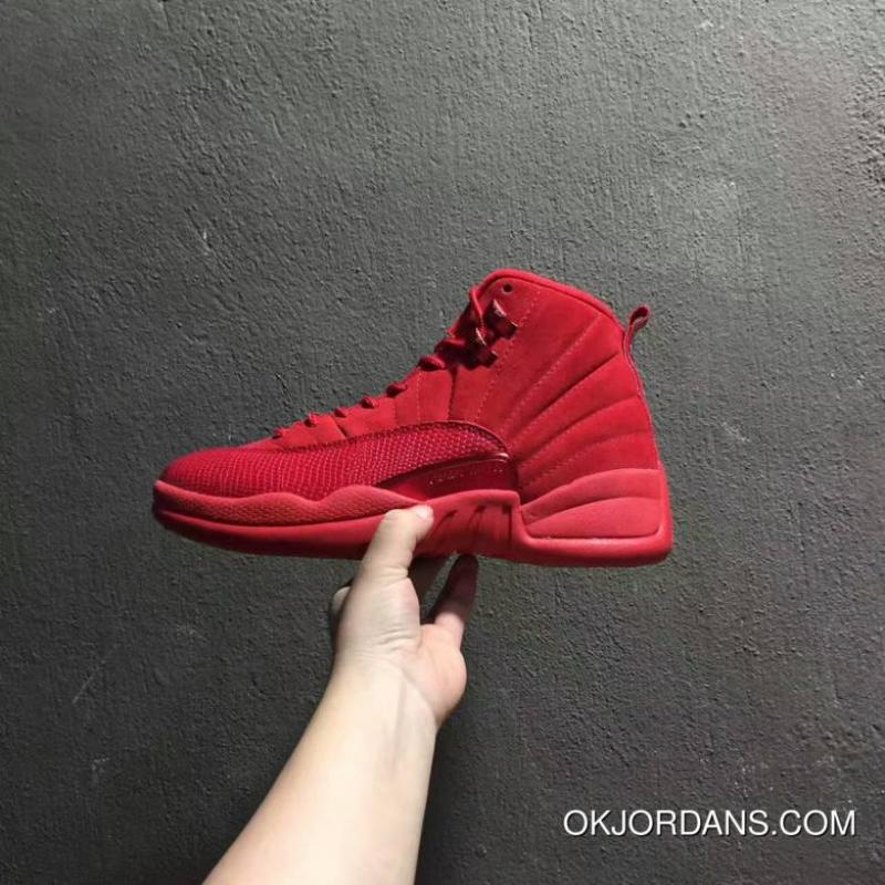 buy online db226 ffc53 Men Basketball Shoes Air Jordan 12 Red Suede New Style
