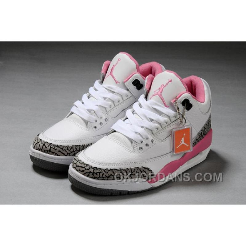 Beautiful Authentic Air Jordan 3 White Pink Girls Size For Sale ...
