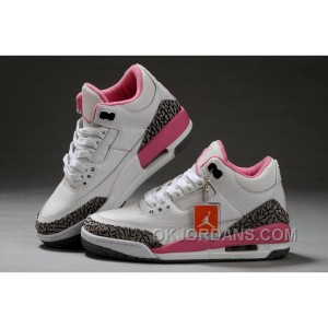 Authentic Air Jordan 3 White Pink Girls Size For Sale