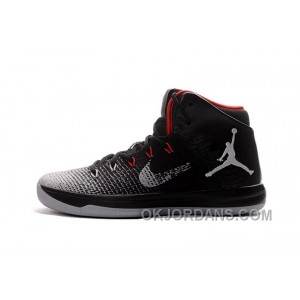2017 Mens Air Jordan XXX1 Black/Red-Wolf Grey Basketball Shoes Discount MKBa7