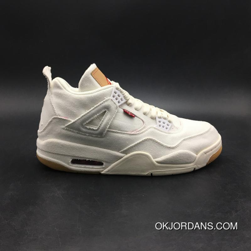 new products 6c416 1a9f7 Jordan 4 Reeves Levi S X Air 4 White Cloth Version Tannins SKU Gs Size36  AQ9103 AO2571-100-100-13 New Style