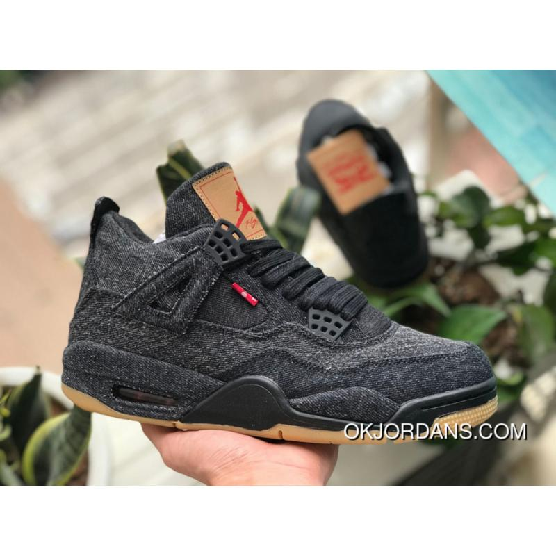 premium selection 81485 b287a AJ4 Black Levi Air Jordan 4 X Levi S AJ4 Levis Brown Rubber Raw Cowboy  AO2571-001 Size Best