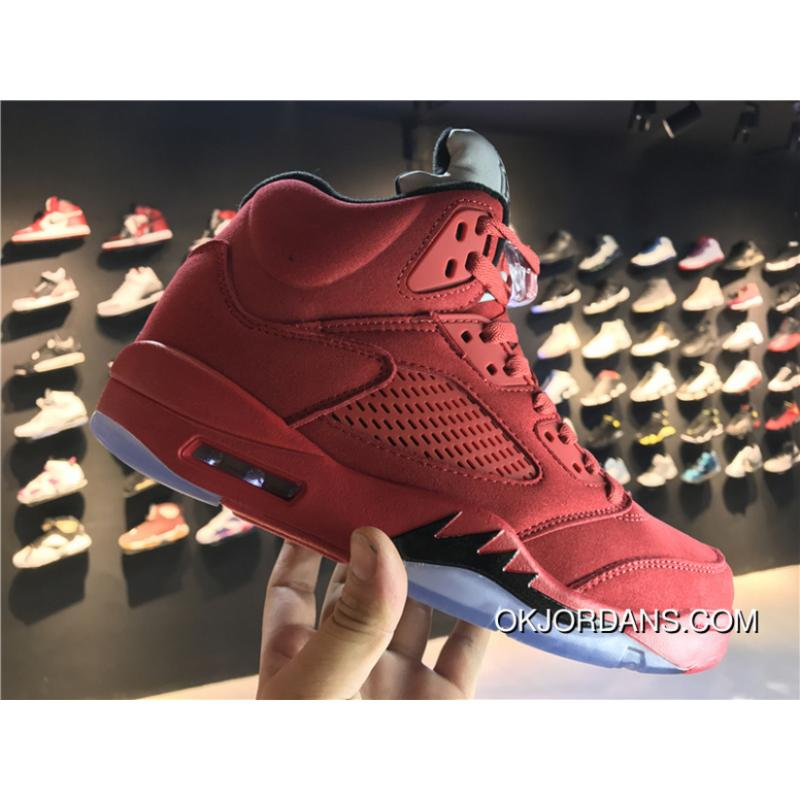8a925e9b0d7847 USD  87.46  244.88. Jordan 5 High Basketball Shoes Men Shoes Air 5 Red Suede  ...