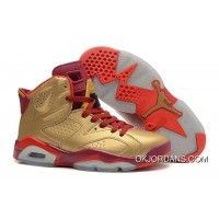 New Style Air Jordan 6 Retro Metallic Gold/Team Red