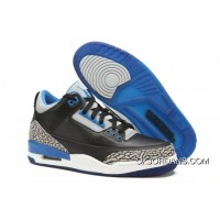 ea3ed8653d1be2 Air Jordan 3 GS Black Sport Blue-Wolf Grey For Womens Latest