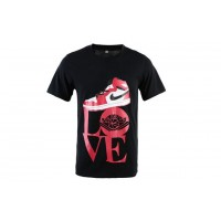 Air Jordan 1 White Black Red Shoe Black TShirts