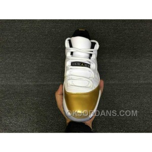 Air Jordan 11 Low Top Metallic Gold White 528895-103 Authentic