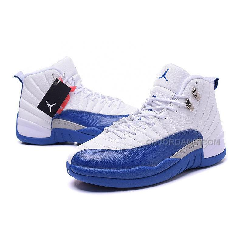 reputable site 3c78f 8d381 Men's Air Jordan 12 French Blue White Silver Varsity Red Basketball Shoes