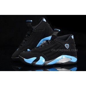Air Jordan 14 Retro Black/University Blue-Metallic Silver Mens For Sale