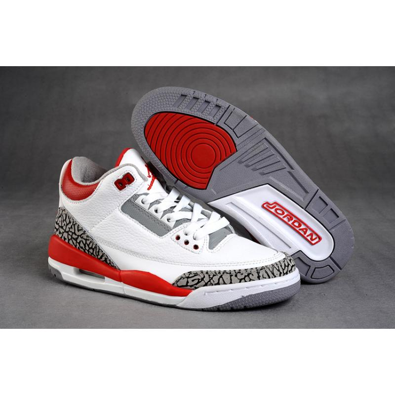 Michael Jordan 3 Retro White Fire Red Cement Grey Black Shoes