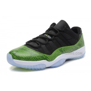 "Mens Air Jordan 11 Low ""Nightshade"" Black/Green Snakeskin-White"