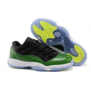 "Cheap Air Jordan 11 Retro Low ""Green Snakeskin"" Black/Nightshade-White-Volt Ice"