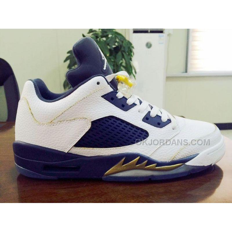 finest selection 5d913 49fba Air Jordan 5 Low Dunk From Above White Navy Metallic Gold