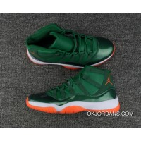 Air Jordan 11 Miami Hurricanes Pe Green/White Orange Free Shipping