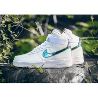 NIKE AIR FORCE 1 HI LV8 IRIDESCENT 806403-100 White Green Gold Authentic