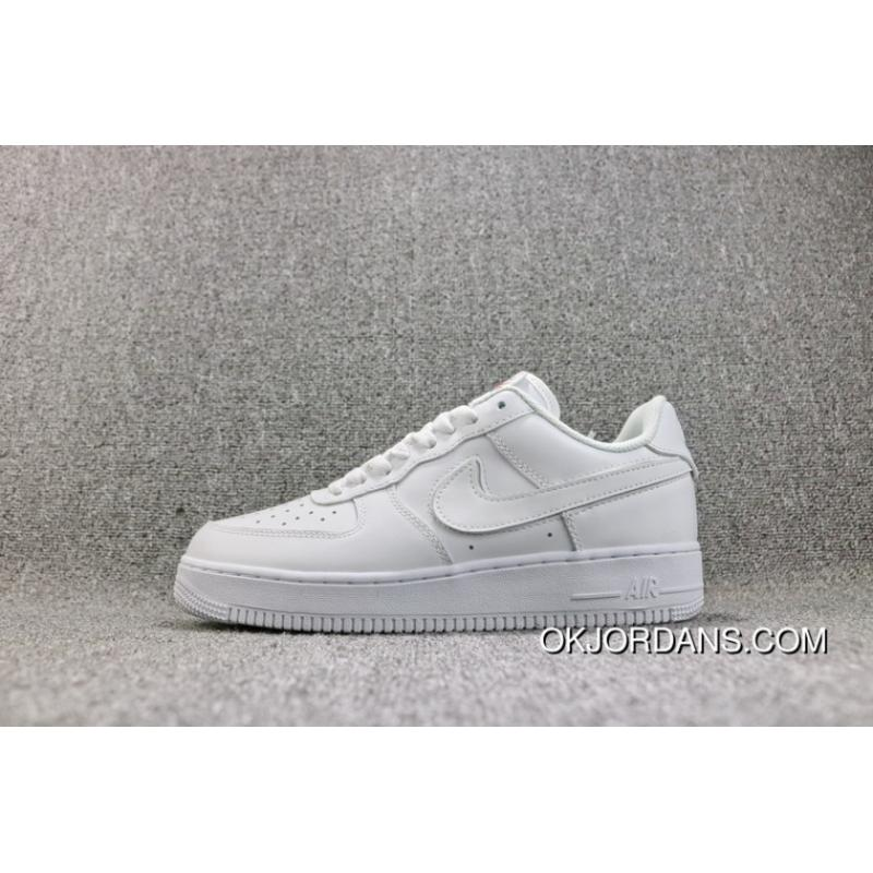 Nike Air Force 1 One Six Color Hook Velcro All White Sneakers Women ... e87f4c3cae9c