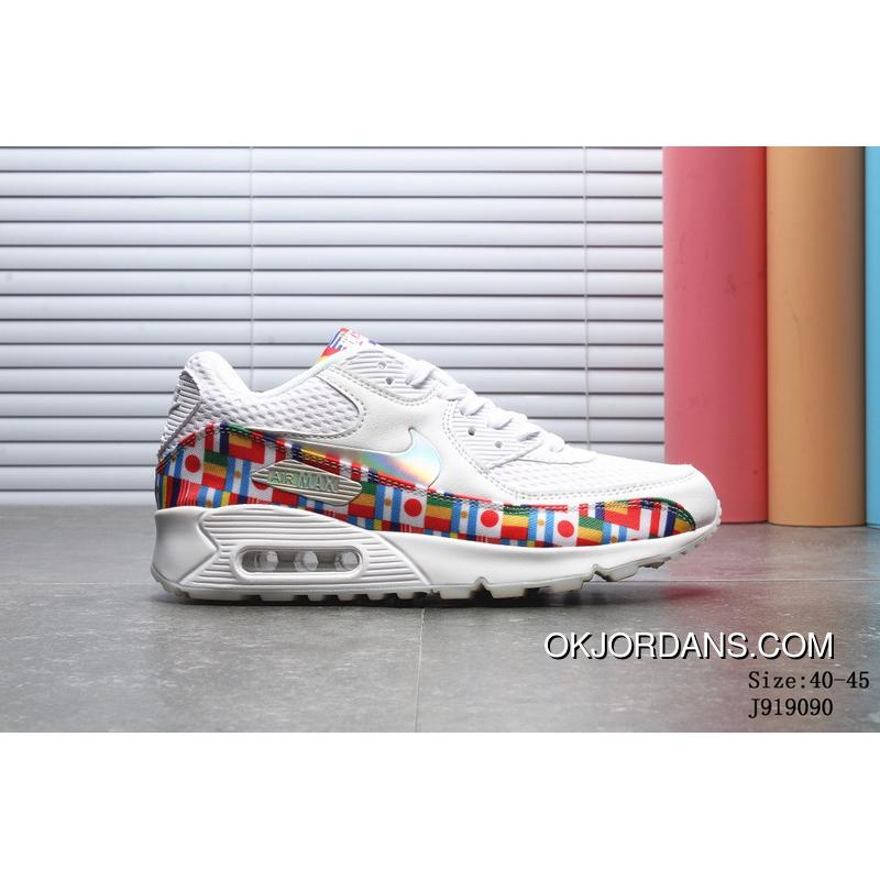 free shipping 1d190 2f019 2018 Summer New Nike AIR MAX 90 NIC QS Running Shoes World Cup National  Flag Collaboration Running Shoes Numbers J919090 Latest