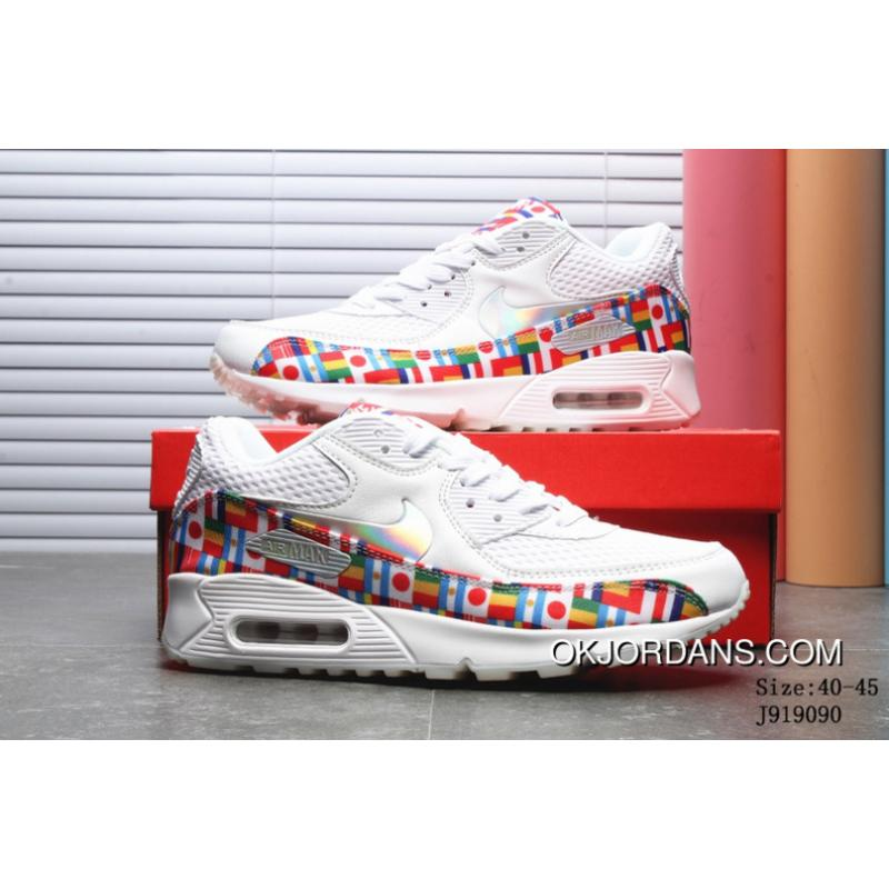 free shipping f4ad7 0b479 2018 Summer New Nike AIR MAX 90 NIC QS Running Shoes World Cup National  Flag Collaboration Running Shoes Numbers J919090 Latest