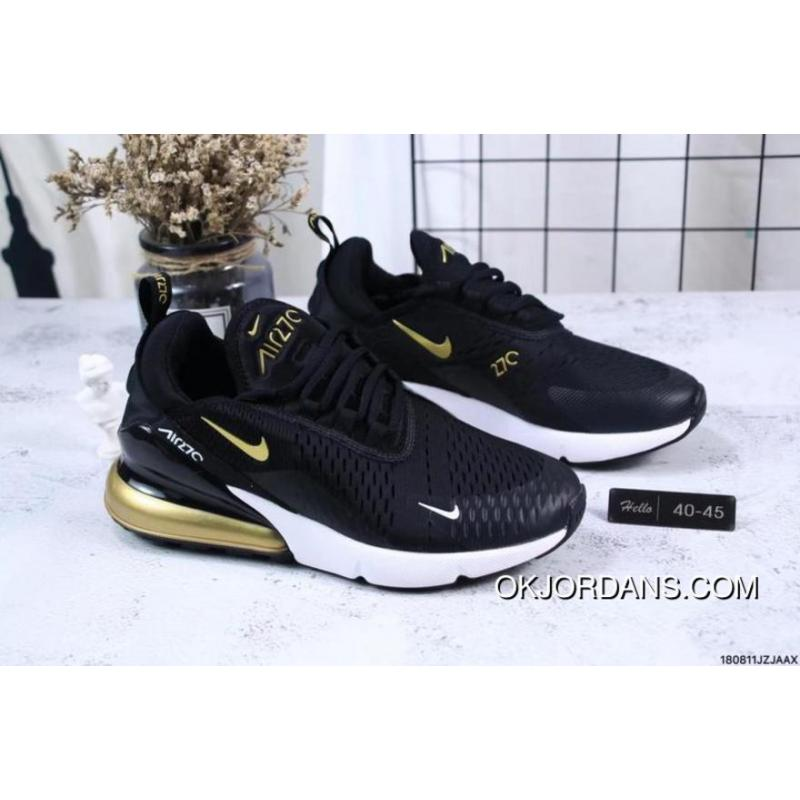 best cheap b316a f4c74 Nike Jacquard Air Max 270 Flyknit Half-palm Cushion Black Gold New Year  Deals