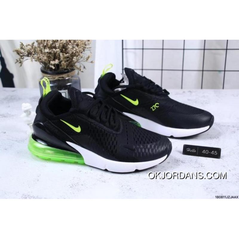 cheaper 5ee1e 7c1b0 Nike Jacquard Air Max 270 Flyknit Half-palm Cushion Black Green Outlet
