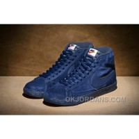 NIKE BLAZER High PRM VNTG 518171 Pig Leather Men Navy Blue For Sale