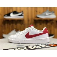 Nike Court Royale White Red Leather Low Sneakers 844802-103 Women And Men Outlet