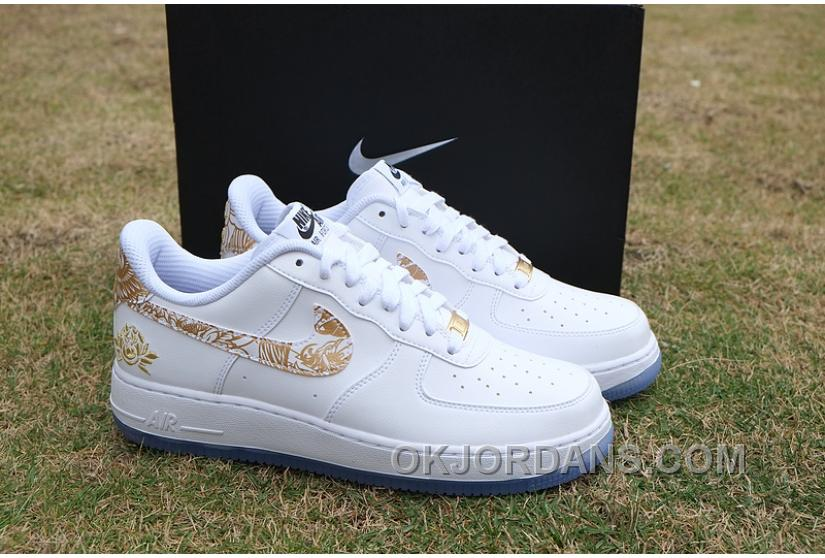 Air Force 1 Chinese New Year White Gold Peony Lastest NDya6D