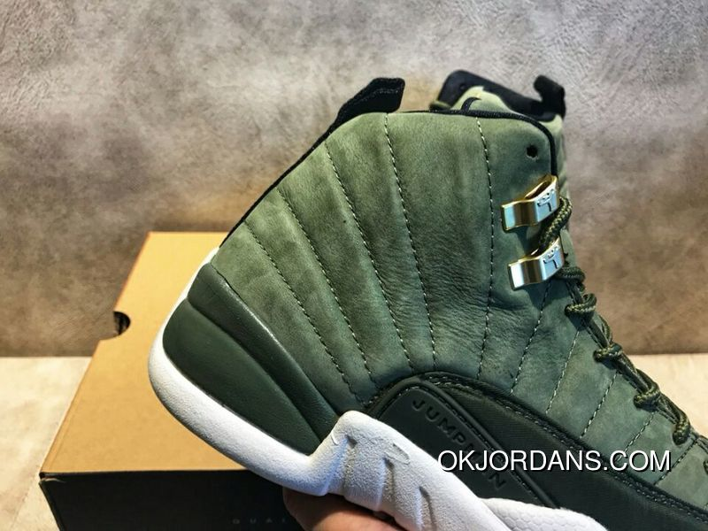 low priced ebbf2 af18a ... sweden wy air jordan 12 cclass of 2003 paul c olive green gold buckle  suede size