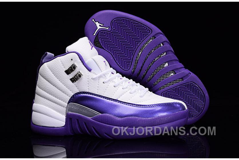 "2016 Air Jordan 12 GS ""Kings"" Purple White For Sale Cheap To Buy ITsPnmk"