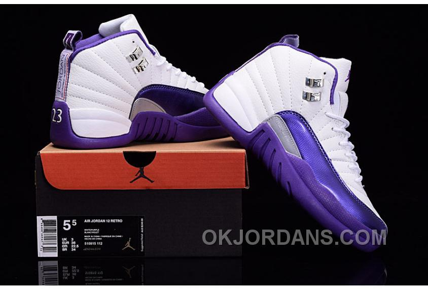 "2016 Air Jordan 12 GS ""Kings"" Purple White For Sale Free Shipping PjME84P"