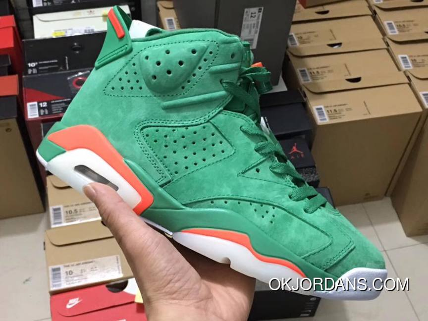 d3e81453d1a4 Nike Air Jordan 6 Gatorade Green Team Orange Summit White Basketball Shoes  Copuon