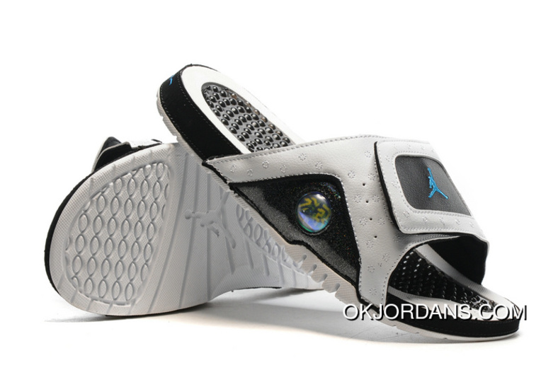 1185691e317a Jordan Hydro 13 Slide Sandals White Black Blue New Release