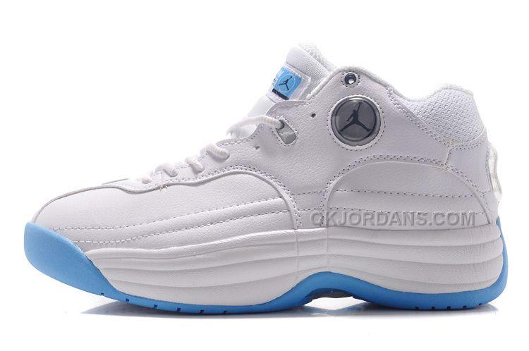 buy popular b8f37 37d16 This classic Jordan Jumpman Team 1 University Bluestyle code features an  all-white leather upper, contrasted only by black and grey circular Jumpman  logos ...