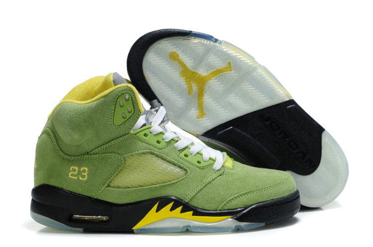 brand new 98dee 43071 Air Jordan 5 Retro Suede Green Yellow Black ...