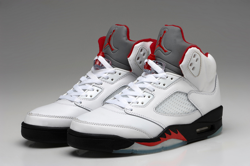 Air Jordan 5 White Black Fire Red Shoes