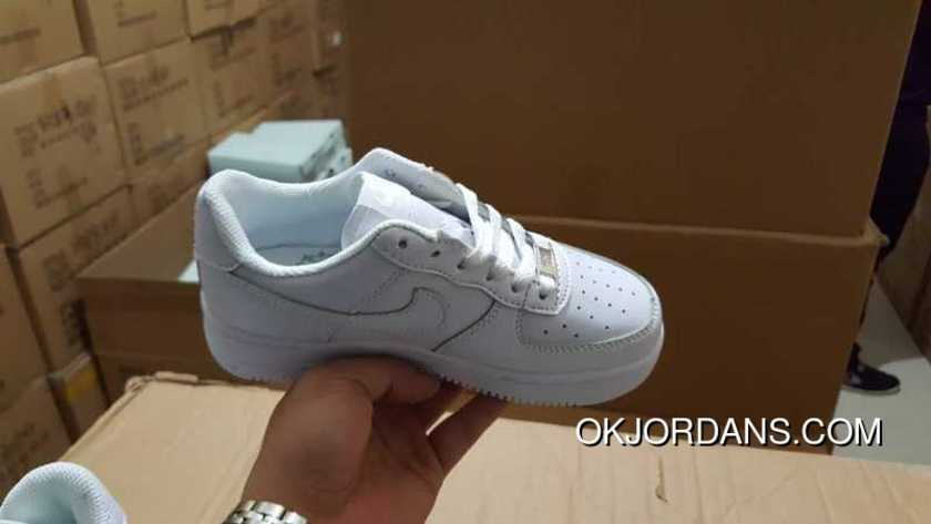 4297757e79c4 Kids Nike Air Force 1 Af1 Kids Black Shoes All White New Release ...