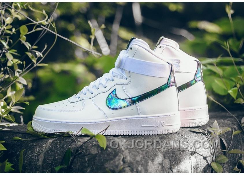 classic fit c5aa4 c8b1b NIKE AIR FORCE 1 HI LV8 IRIDESCENT 806403-100 White Green Gold Authentic