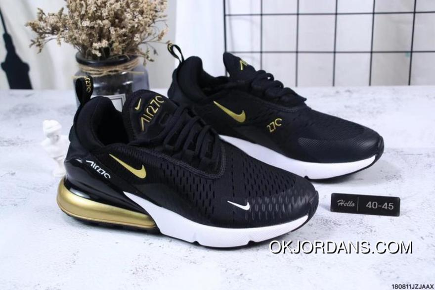 Nike Jacquard Air Max 270 Flyknit Half-palm Cushion Black Gold New Year Deals