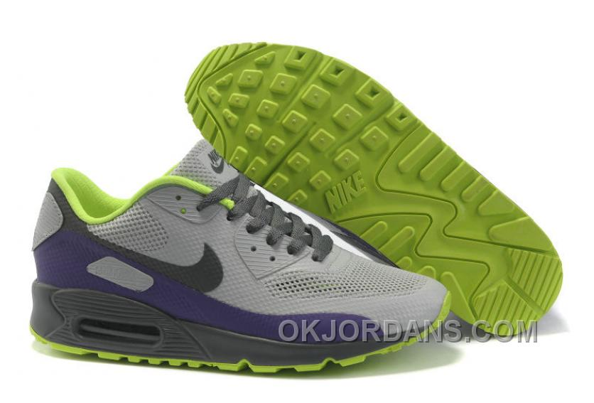 Nike Air Max 90 Hyperfuse Womens Grey Purple Grassgreen Cheap To Buy NFY2A