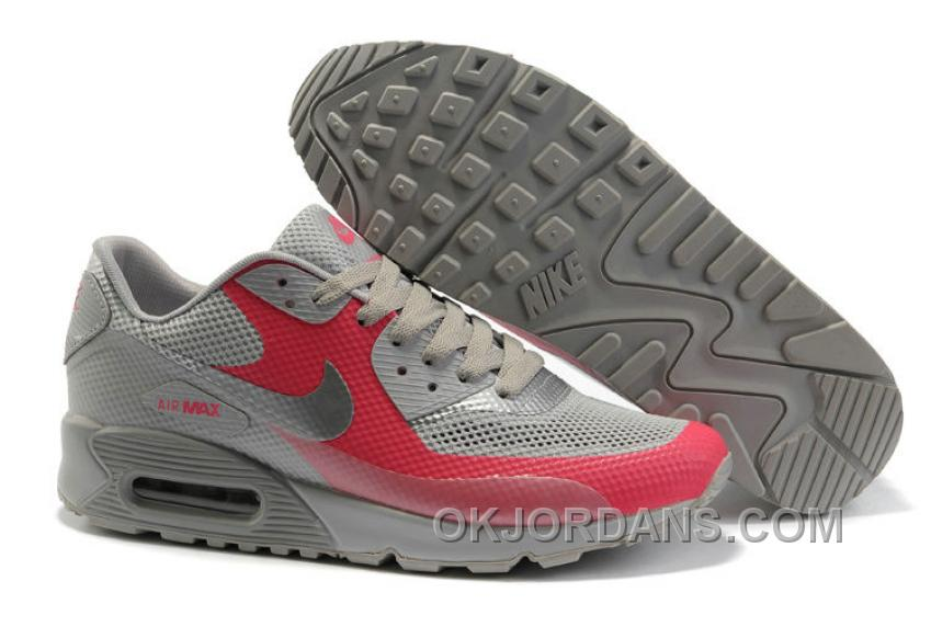 Nike Air Max 90 Hyperfuse Womens Red Grey Top Deals ZSEX4