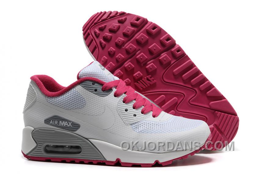 Nike Air Max 90 Hyperfuse Womens White Red Low Super Deals AHXCY