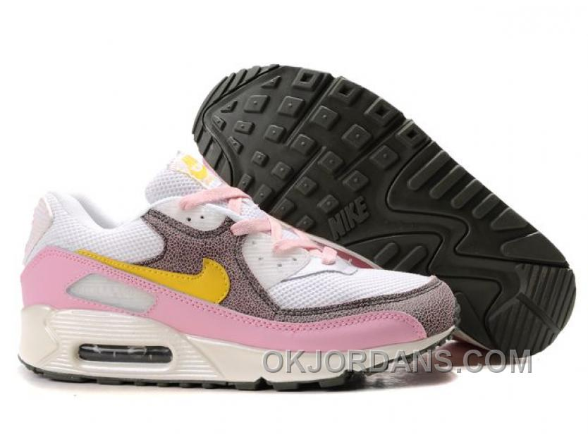 Nike Air Max 90 Womens Pink Yellow White Discount Byx4H