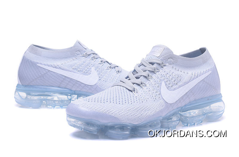 Nike Air 2018 VaporMax Flyknit Steam Zoom Air Jogging Shoes High Quality  Grey White 849558- 57ee923d02