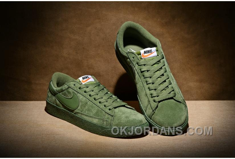 NIKE BLAZER LOW PRM VNTG 443903 Pig Leather Men Green Lastest
