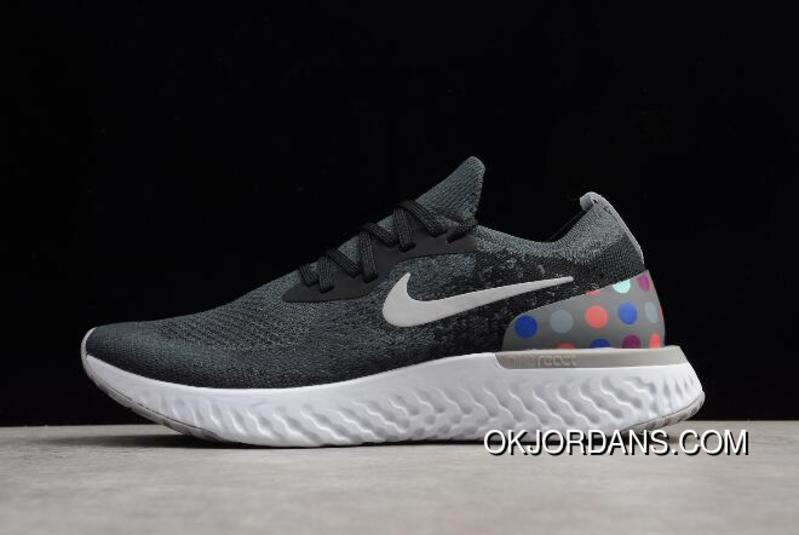 33d9362deac56 Nike Epic React Flyknit Id Black And Grey Dots Running Shoes Aj7283-996 New  Style
